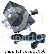 Royalty Free RF Clipart Illustration Of A 3d Computer Tower Character Holding A Wrench And Skateboarding Version 3