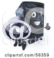 Royalty Free RF Clipart Illustration Of A 3d Computer Tower Character Holding An Arobase At Symbol Version 1