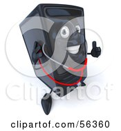 Royalty Free RF Clipart Illustration Of A 3d Computer Tower Character Using A Stethoscope Version 1