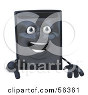 3d Computer Tower Character Pointing Down And Standing Behind A Blank Sign