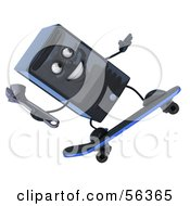 Royalty Free RF Clipart Illustration Of A 3d Computer Tower Character Holding A Wrench And Skateboarding Version 2