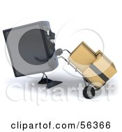 Royalty Free RF Clipart Illustration Of A 3d Computer Tower Character Pushing Boxes On A Dolly Version 2