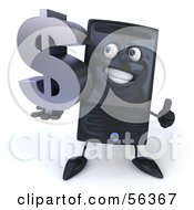 3d Computer Tower Character Smiling And Holding A Dollar Symbol - Version 2