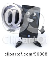 Royalty Free RF Clipart Illustration Of A 3d Computer Tower Character Holding An Arobase At Symbol Version 2