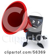 Royalty Free RF Clipart Illustration Of A 3d Computer Tower Character Using A Megaphone Version 1