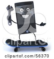 Royalty Free RF Clipart Illustration Of A 3d Computer Tower Character Holding A Wrench And Skateboarding Version 1