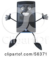 Royalty Free RF Clipart Illustration Of A 3d Computer Tower Character Jumping Version 1