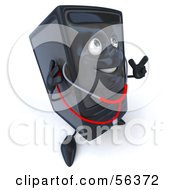 Royalty Free RF Clipart Illustration Of A 3d Computer Tower Character Using A Stethoscope Version 2
