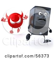 Royalty Free RF Clipart Illustration Of A 3d Computer Tower Character Running From A Devil Virus Version 1 by Julos