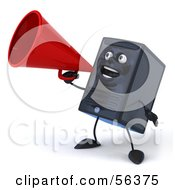 Royalty Free RF Clipart Illustration Of A 3d Computer Tower Character Using A Megaphone Version 3