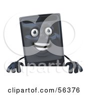 3d Computer Tower Character Standing Behind A Blank Sign