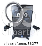 Royalty Free RF Clipart Illustration Of A 3d Computer Tower Character Using A Magnifying Glass Version 2 by Julos