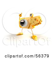 Royalty Free RF Clipart Illustration Of A 3d Yellow Camera Boy Character Holding A Wedge Of Cheese Version 1 by Julos