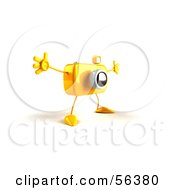 Royalty Free RF Clipart Illustration Of A 3d Yellow Camera Boy Character Holding His Arms Open Version 2 by Julos