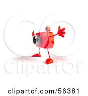 Royalty Free RF Clipart Illustration Of A 3d Red Camera Boy Character Holding His Arms Open Version 4 by Julos