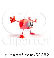 Royalty Free RF Clipart Illustration Of A 3d Red Camera Boy Character Holding His Arms Open Version 3 by Julos