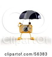 Royalty Free RF Clipart Illustration Of A 3d Yellow Camera Boy Character Standing Under An Umbrella Version 1 by Julos