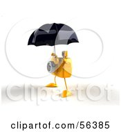 Royalty Free RF Clipart Illustration Of A 3d Yellow Camera Boy Character Standing Under An Umbrella Version 3 by Julos