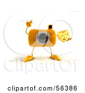 Royalty Free RF Clipart Illustration Of A 3d Yellow Camera Boy Character Holding A Wedge Of Cheese Version 3 by Julos