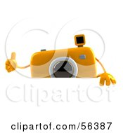 Royalty Free RF Clipart Illustration Of A 3d Yellow Camera Boy Character Giving The Thumbs Up And Standing Behind A Blank Sign by Julos
