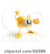 Royalty Free RF Clipart Illustration Of A 3d Yellow Camera Boy Character Holding A Wedge Of Cheese Version 2 by Julos