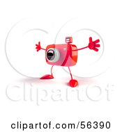 Royalty Free RF Clipart Illustration Of A 3d Red Camera Boy Character Holding His Arms Open Version 2 by Julos