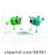 Royalty Free RF Clipart Illustration Of Two 3d Green Camera Boy Characters Jumping Version 2 by Julos