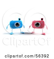Royalty Free RF Clipart Illustration Of Two 3d Blue And Pink Camera Boy Characters by Julos