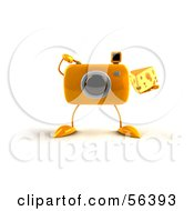 Royalty Free RF Clipart Illustration Of A 3d Yellow Camera Boy Character Holding A Wedge Of Cheese Version 6 by Julos