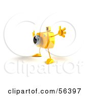 Royalty Free RF Clipart Illustration Of A 3d Yellow Camera Boy Character Holding His Arms Open Version 3 by Julos