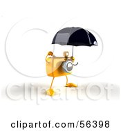 Royalty Free RF Clipart Illustration Of A 3d Yellow Camera Boy Character Standing Under An Umbrella Version 2 by Julos