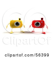 Royalty Free RF Clipart Illustration Of Two 3d Yellow And Red Camera Boy Characters by Julos