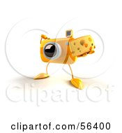 Royalty Free RF Clipart Illustration Of A 3d Yellow Camera Boy Character Holding A Wedge Of Cheese Version 4 by Julos