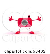 Royalty Free RF Clipart Illustration Of A 3d Red Camera Boy Character Holding His Arms Open Version 1 by Julos