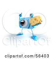 Royalty Free RF Clipart Illustration Of A 3d Blue Camera Boy Character Holding A Wedge Of Cheese Version 1 by Julos