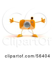 Royalty Free RF Clipart Illustration Of A 3d Orange Camera Boy Character Holding His Arms Open by Julos