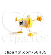 Royalty Free RF Clipart Illustration Of A 3d Yellow Camera Boy Character Holding His Arms Open Version 1 by Julos