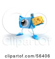 Royalty Free RF Clipart Illustration Of A 3d Blue Camera Boy Character Holding A Wedge Of Cheese Version 4 by Julos