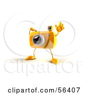 Royalty Free RF Clipart Illustration Of A 3d Yellow Camera Boy Character Waving Version 2 by Julos