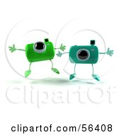 Royalty Free RF Clipart Illustration Of Two 3d Green Camera Boy Characters Jumping Version 1 by Julos