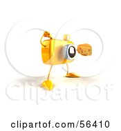 Royalty Free RF Clipart Illustration Of A 3d Yellow Camera Boy Character Holding A Wedge Of Cheese Version 5 by Julos