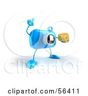 Royalty Free RF Clipart Illustration Of A 3d Blue Camera Boy Character Holding A Wedge Of Cheese Version 2 by Julos
