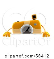 Royalty Free RF Clipart Illustration Of A 3d Yellow Camera Boy Character Standing Behind A Blank Sign by Julos