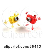 Royalty Free RF Clipart Illustration Of Two 3d Yellow And Red Camera Boy Characters Jumping Version 1 by Julos
