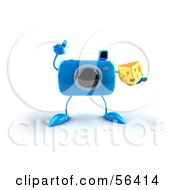 Royalty Free RF Clipart Illustration Of A 3d Blue Camera Boy Character Holding A Wedge Of Cheese Version 3 by Julos
