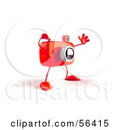 Royalty Free RF Clipart Illustration Of A 3d Red Camera Boy Character Waving Version 3 by Julos