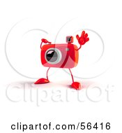 Royalty Free RF Clipart Illustration Of A 3d Red Camera Boy Character Waving Version 2 by Julos