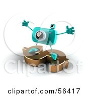 Royalty Free RF Clipart Illustration Of A 3d Turquoise Camera Boy Character Standing On A Gold Dollar Symbol Version 4