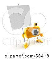 Royalty Free RF Clipart Illustration Of A 3d Yellow Camera Boy Character Holding Up A Blank Sign Version 1 by Julos