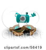 Royalty Free RF Clipart Illustration Of A 3d Turquoise Camera Boy Character Standing On A Gold Dollar Symbol Version 5